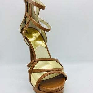 Michael Kors jaida brown zip platform heels